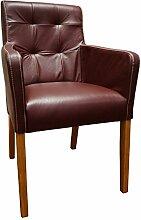 Weinrot Echtleder Stühle David Arm Pik Lederstühle Sessel mit Armlehnen Echt Leder Antique Bordo Esszimmer Stuhl