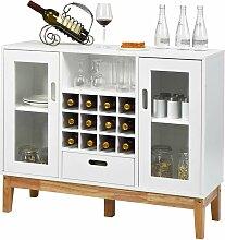 Weinschrank mit Weinregal, Sideboard aus Holz,