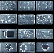 Weiqu 12Pcs Button Flower Key Englisch Buchstaben