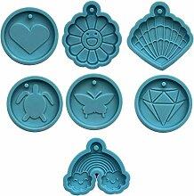 Weiqu 7 Shapes Handmade Round Discs Schlüsselbund