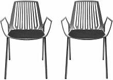 Weishäupl Rion Outdoor Sessel Set 2 Stück, grau metallic pulverbeschichtet Inkl. 2 Auflagen anthrazi