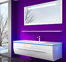Weiss 120 cm Badmöbel Set Waschbecken Spiegel 70 cm und Ablage Vormontiert Badezimmermöbel Doppelwaschbecken LED Hochglanz Lackiert Homeline1