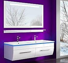 Weiss 120 cm Badmöbel Set Waschbecken Spiegel und