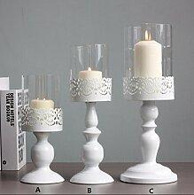 Weiß Antik geschnitzt groß Schmiedeeisen Kerzenständer, Bar Tischdekorationen,A