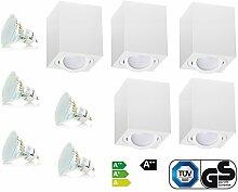 Weiß Aufbaustrahler Aufbaleuchte Aufbaulampe Deckenleuchte Deckenspots LED 4W 230V GU10 TÜV SÜD (5er OH.37W 4W)