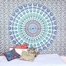 weiß Blau Mandala Tapisserie Wand Kunst Hangings Hippie Wandteppiche Dorm Decor