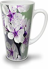 Weiß Blume Foto Natur Weiß Keramisch Latte Becher 17 oz | Wellcoda