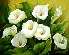 Weiß Calla Diamant Malerei 5D DIY Pflanze Voll