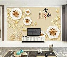 Weiß Fototapete 3D 200Cmx140Cm Blumenmuster