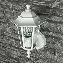 Weiß-graue Wand-Außenleuchte IP43 LE 2/1/884 up aus Aluguss Außenlampe Wandleuchte