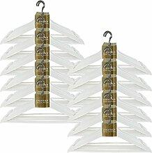 Weiß Holz Erwachsene Coat Kleidung hängen Kleiderbügel mit Hosen-Bar & Chrom Haken, 12er-Pack