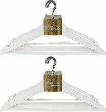 Weiß Holz Erwachsene Coat Kleidung hängen Kleiderbügel mit Hosen-Bar & Chrom Haken, 2er-Pack