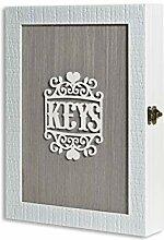 Weiß Holz Schlüsselkasten für Wand, Vintage