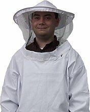 Weiß Imker Schutz Anzug Smock Kleid Equipment Mantel Bienenzucht Jacke Sleeve Hat mit Schutzhülle Veil Smock