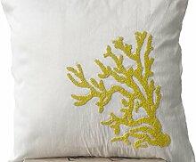 Weiß Kissen mit Gelb Coral Reef embroidery- Pailletten Perlen Kissen–Hand bestickt Kissen–Art Silk Dupionseide Kissen, Nautical Kissen–Couch Kissen, weiß, 40x40 cm