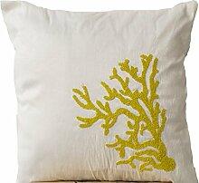 Weiß Kissen mit Gelb Coral Reef embroidery- Pailletten Perlen Kissen–Hand bestickt Kissen–Art Silk Dupionseide Kissen, Nautical Kissen–Couch Kissen, weiß, 50x50 cm