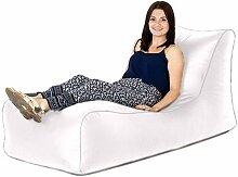 Weiß Kunstleder bequeme Sofa Sitzsack Liege Sitz, ideal für drinnen und draußen