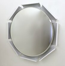 Weiß Lackierter Spiegel mit Holzrahmen, 1970er