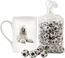 weiß Pudel Bild Design Feines Porzellan Keramik Becher mit Schokolade fußball