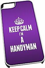 Weiß Schutzhülle für iPhone 5/5S 2600violett Keep Calm I 'm a Heimwerker