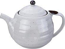 Weiß / Schwarze handgefertigte Teekanne mit