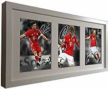 Weiß signierte Fotodrucke von Robert Lewandowski, Thomas Müller, Arjen Robben, 2016/17 FC Bayern München, gerahmtes Foto-Bild, Fotodruck-Geschenkidee
