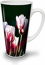 Weiß Tulp Foto Natur Weiß Keramisch Latte Becher 17 oz | Wellcoda