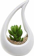 Weiß Unglasierte Keramik Tropfen Design Air Pflanztopf Vase/Teelichthalter–MyGif