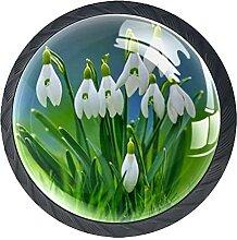 Weiße Blumen Pflanzen, 4er-Pack ABS-Harz