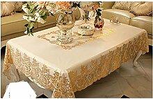 Weiße Blumen-PVC-Tischdecke Mit Multi-Size
