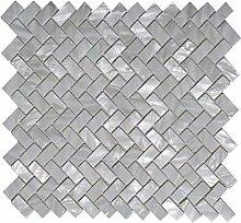 Weiße Fischgrätenmuster Perlmutt Mosaik Fliese