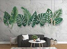 Weiße handgemalte Pflanzenblätter Tapete Vlies