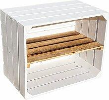 Weiße Holzkiste mit geflammtem Mittelbrett