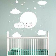 Weiße Karikatur Smiley Wolke Sterne Wandaufkleber