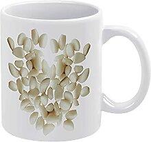 Weiße Keramiktasse, Digitaldruck, Gemüse,