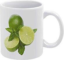 Weiße Keramiktasse, Digitaldruck, Pflanze, Obst,
