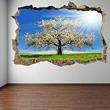 Weiße Kirschbaum Sommer Wandkunst Aufkleber