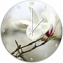 weiße Magnolienblüte, Wanduhr Durchmesser 48cm mit weißen spitzen Zeigern und Ziffernblatt, Dekoartikel, Designuhr, Aluverbund sehr schön für Wohnzimmer, Kinderzimmer, Arbeitszimmer