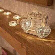 Weiße Metall Herz Lichterkette, batteriebetrieben, 10 LEDs warmweiß, von Festive Lights