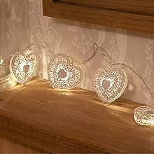 Weiße Metall Herz Lichterkette,