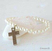 Weiße Perlen Armband mit Metallkreuz 12er Pack