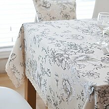 Weiße Pfingstrose Tuch Tischdecke,Pastoral Einfaches Baumwoll-leinen Handtuch,Tischdecke TV Schrank Schrank Schrank Abdeckung-A 100x140cm(39x55inch)