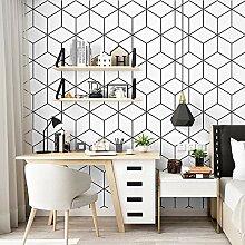 Weiße, schwarze Hexagon-Tapete, schwarze