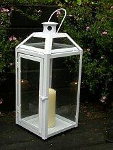 Weiße schwere stabile Laterne Windlicht, Echtglas