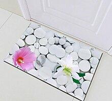 Weiße Stein Badematte Blume Waschbar Tür Matte