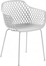 Weiße Stühle im Skandi Design Armlehnen (4er Set)