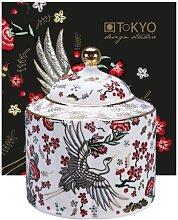 Weiße Teekanne mit Kranichfigur - Mythischer