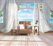 Weiße Vorhänge Mit Meerblick 3D Wallpaper Effekt