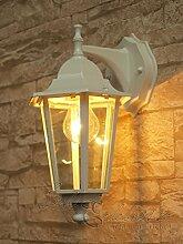 Weiße Wand-Energiespar-Außenleuchte 11 Watt IP43 aus Aluguss Außenlampe Wandleuchte Lampe Leuchte
