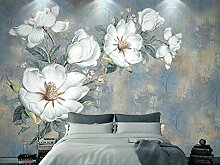 Weiße Wand-Tapete Der Blumen-3D 3D Für